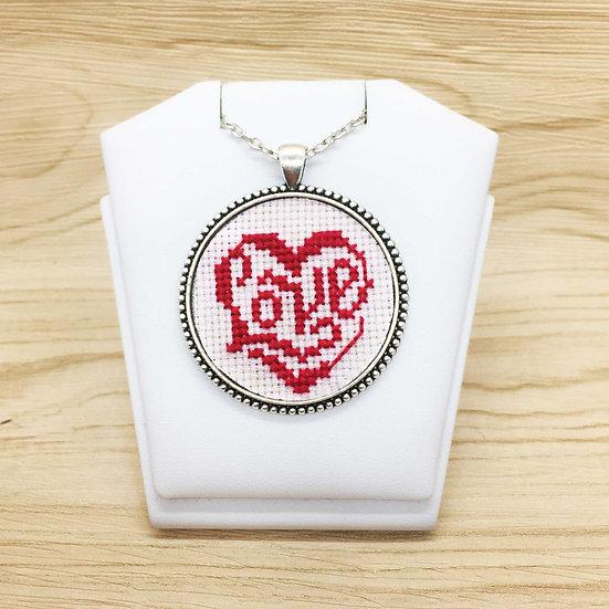 Love Heart Cross Stitch   Pendant