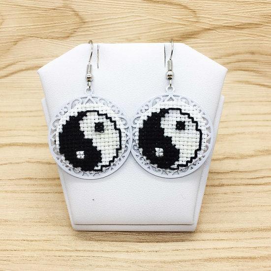 Yin and Yang Cross Stitch | Earrings