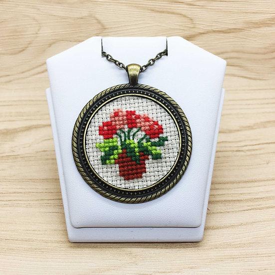 Flower Bouquet Cross Stitch | Pendant