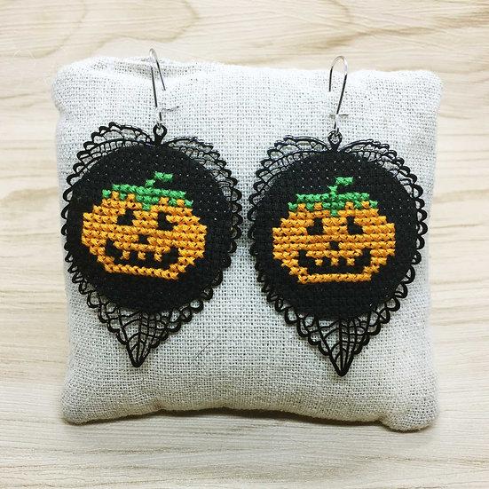 Pumpkin Cross Stitch | Earrings