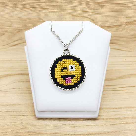 Winking Eye Emoji Cross Stitch | Pendant
