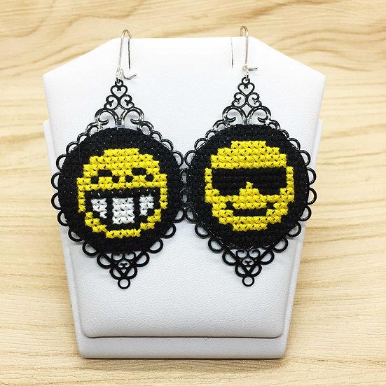 Smiling Emoji Cross Stitch   Earrings