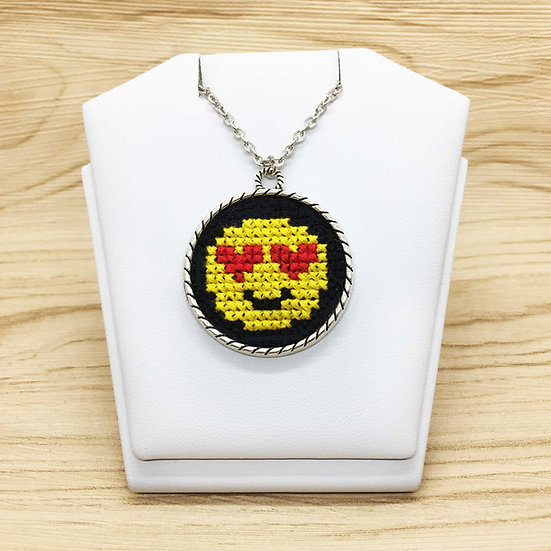 Heart Eyes Emoji Cross Stitch | Pendant