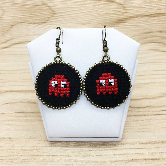 Mini Packman Ghost Cross Stitch | Earrings