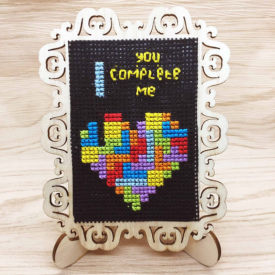 Tetris Heart Cross Stitch | Home Decor