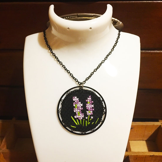 Purple Hyacinths Flower Cross Stitch | Pendant