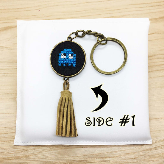 Mini Packman Ghost Cross Stitch | Double-Sided Keyring
