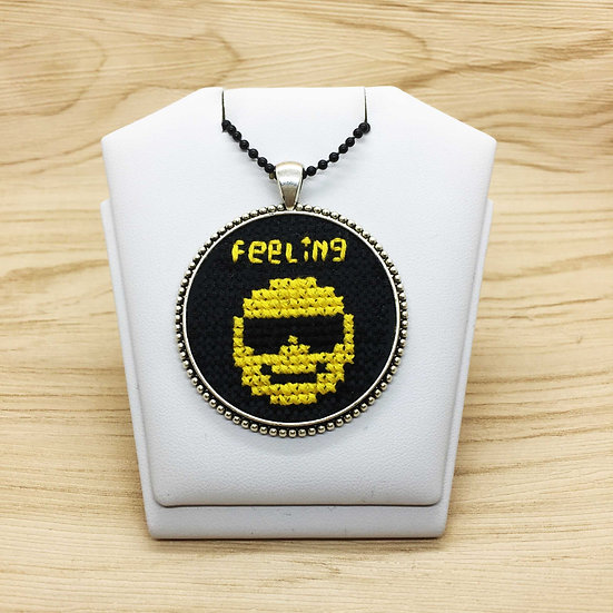 Cool Emoji Cross Stitch | Pendant