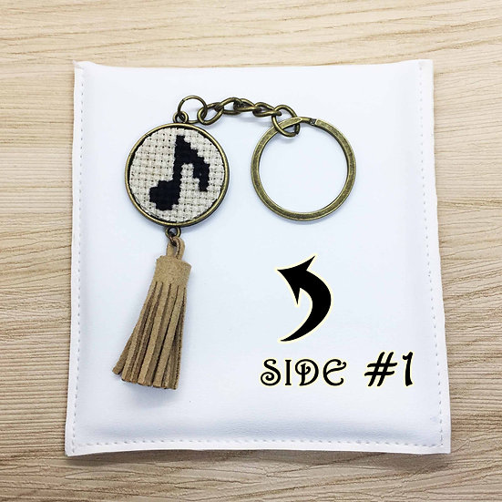 Musical Note Cross Stitch | Double-Sided Keyring