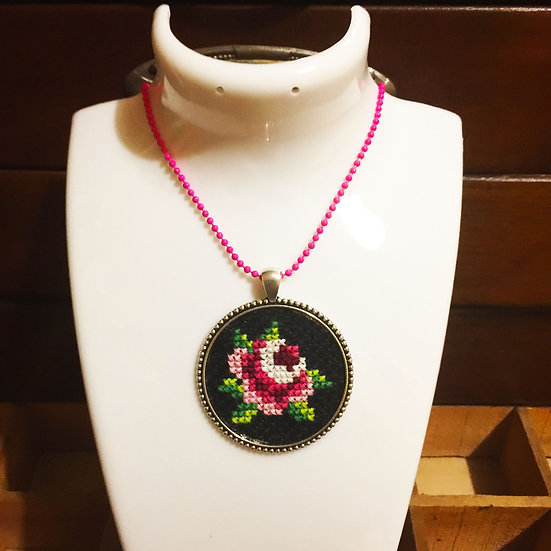 Pink Rose Cross Stitch | Pendant