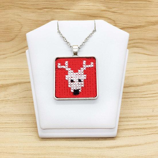 White Reindeer Cross Stitch | Pendant