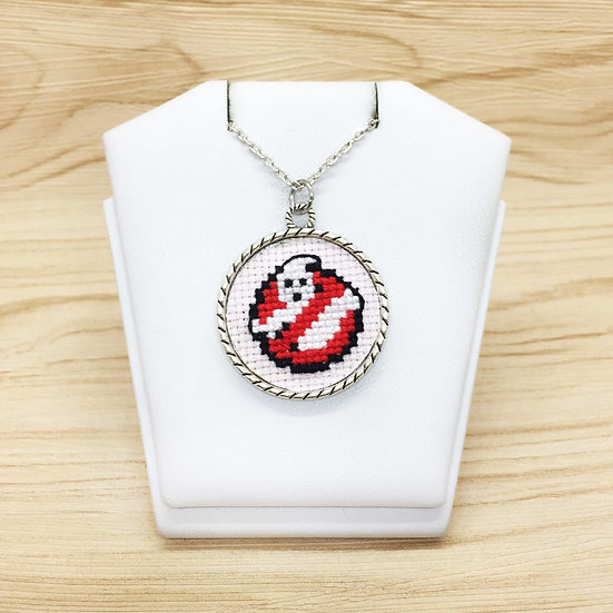 Mini Ghostbusters Cross Stitch | Pendant