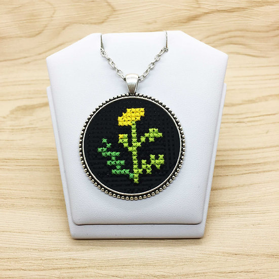 Yellow Flower Cross Stitch | Pendant