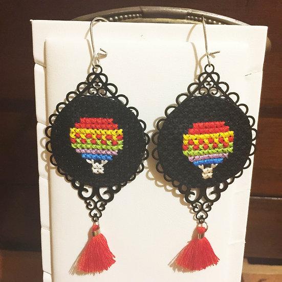 Air Balloon Cross Stitch | Earrings