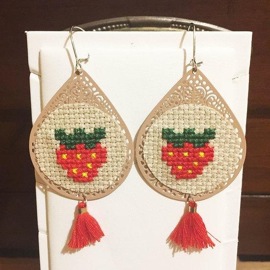 Strawberry Cross Stitch | Earrings