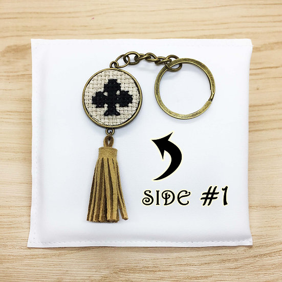 Card's Suits Cross Stitch | Double-Sided Keyring