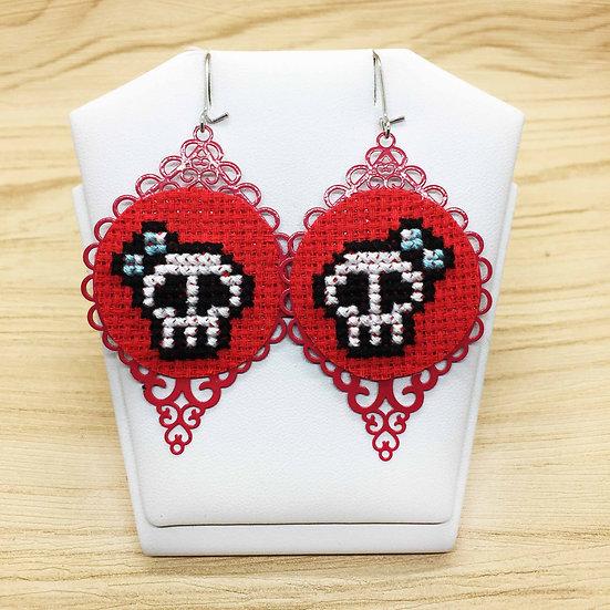 Cute Skulls Cross Stitch   Earrings