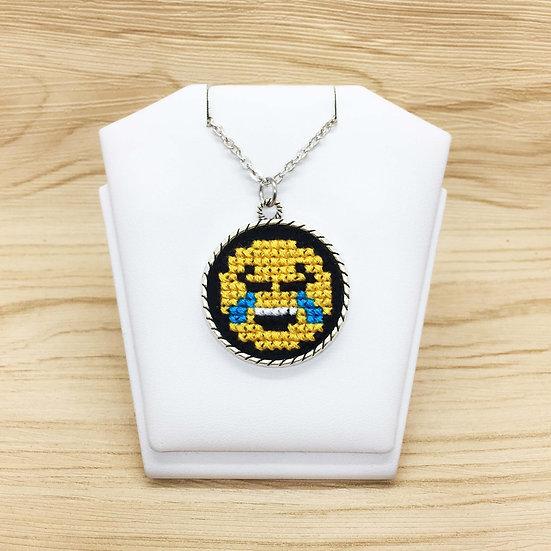 Joy Emoji Cross Stitch   Pendant