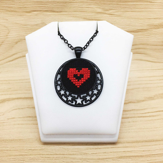 Red Heart Cross Stitch | Pendant