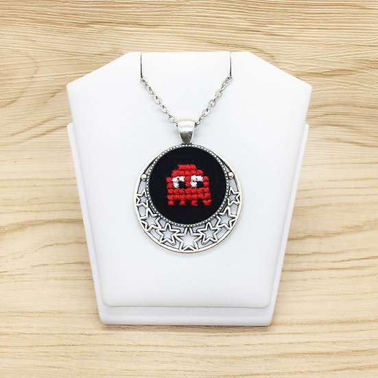 Mini Red Packman Ghost Cross Stitch | Pendant