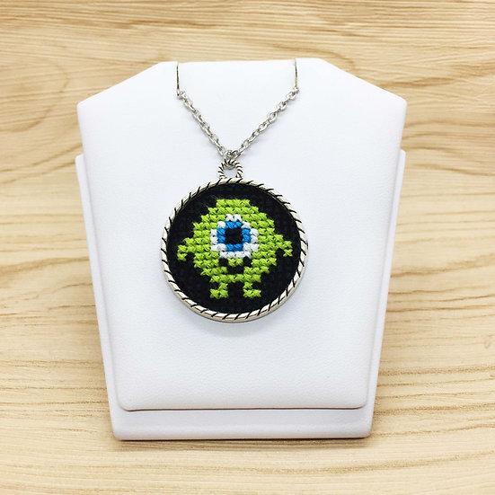 Green Monster Cross Stitch | Pendant