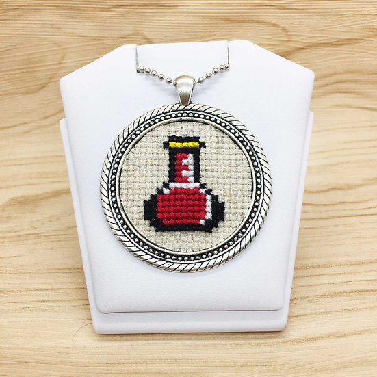 Red Potion Cross Stitch | Pendant