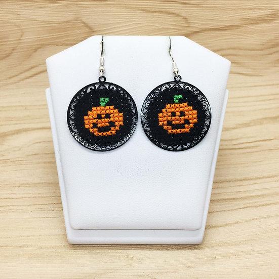 Mini Pumpkin Cross Stitch | Earrings