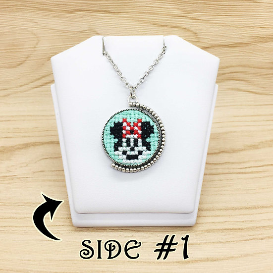 Mini & Mickey Mouse Cross Stitch | Double Sided Pendant