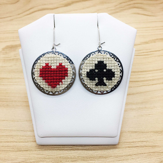Card's Suits Cross Stitch | Earrings