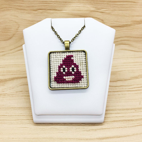 Poo Emoji Cross Stitch | Pendant