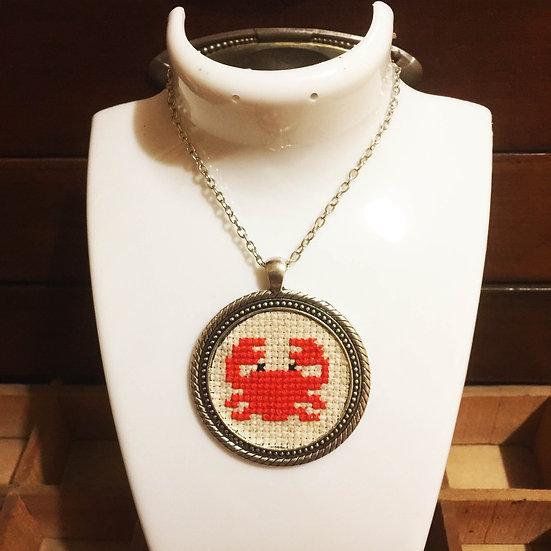 Red Crab Cross Stitch   Pendant
