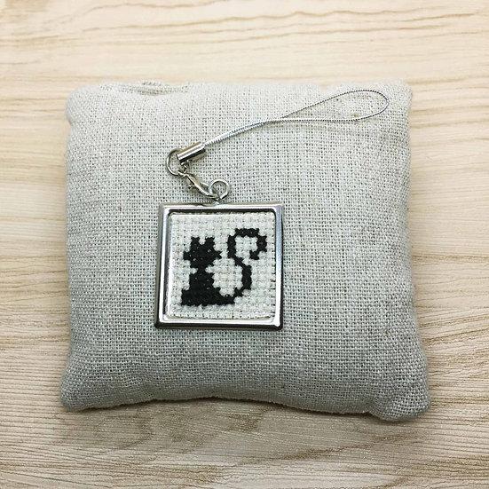 Black Cat Cross Stitch | Keyring