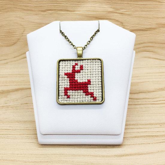 Red Reindeer Cross Stitch   Pendant
