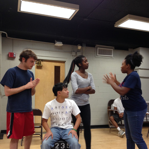 The Interactive Theatre Troupe rehearses a sketch. The University of Kansas