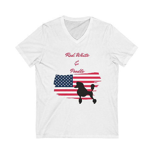 Unisex Jersey Short Sleeve V-Neck Red White & Poodle Tee