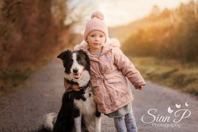 Child and dog portrait