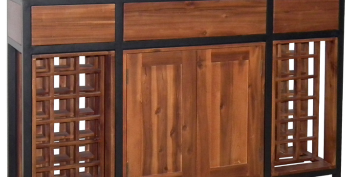 Industrial Wine Rack - 2 Door /3 Drawer