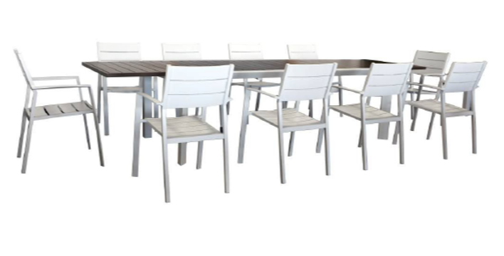 Oxford 11 Pc Extension Dining Setting w/Slat Chairs