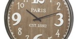 Wooden Paris Wall Clock 60cm - Antique Brown