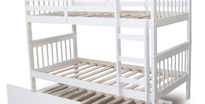 Monza King Single Timber Bunk Bed with Trundle