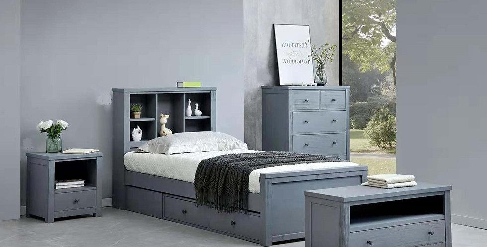 Zac Single Bed - Bookcase Headboard