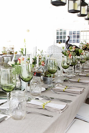 wedding table, community table, wedding tablescape, weddng decorations, green and grey