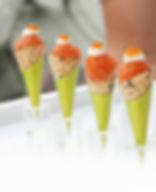 mini salmon cones, salmon tartar, caviar, mini sesame cones, passed appetizers