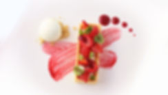 raspberry tart with micro sorell dessert