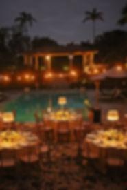 poolside gala dinner, gala setup,
