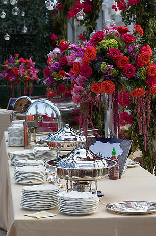 wedding buffet, buffet table, food stations, red and purple roses