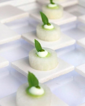 daikon and pea mousse, passed appetizer, vegan, vegeterian, gluten free
