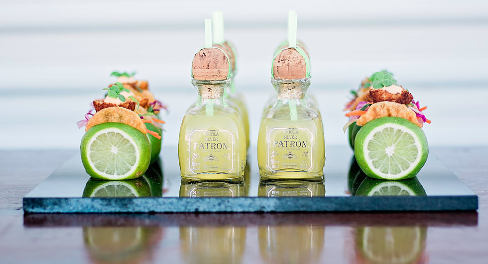 mini food pairing, passed appetizers, mini tuna tacos, mini patron margaritas served in patron bottle