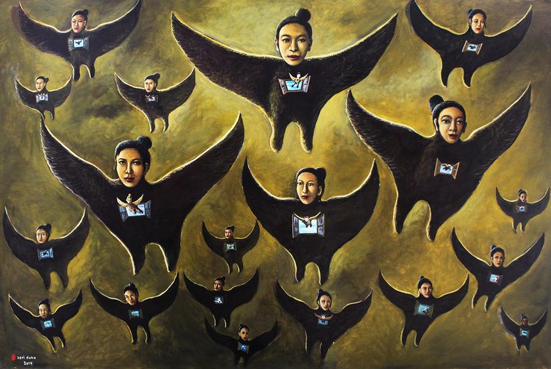 Heri Dono, The Flying Angels I, 200 x 300 cm, acrylic on canvas, 2014