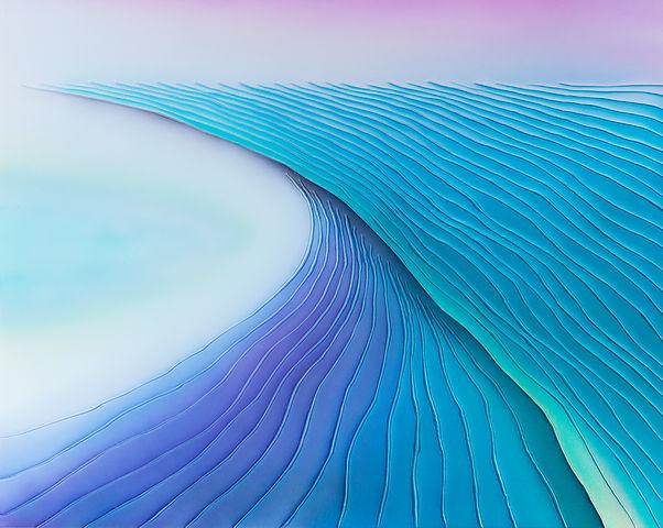 前川强《无题 160433》,丙烯和缝纫于棉布,80 × 100 cm,2010